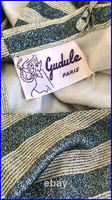 1970s THIERRY MUGLER PAR GUDULE PARIS VINTAGE OPEN BACK LAMÈ SLIP DRESS SIZE S-M