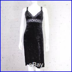 1980s 1990s Betsey Johnson Dress black crushed velvet slip stretch S