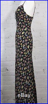 1980s 1990s Betsey Johnson Floral slip dress 40s inspired print long maxi calico