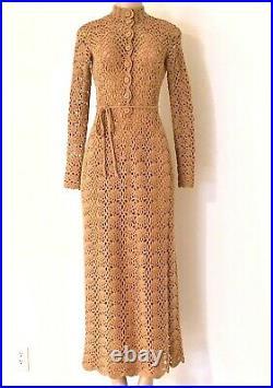 1980s Martha West Beige Hand Crocheted Scalloped Buttoned Neck Long Dress w Slip