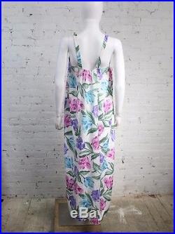 1980s Mary McFadden Dress Floral Print White Slip Sleeveless Gown 5