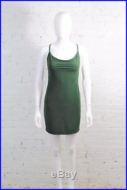 1980s Norma Kamali OMO Dress Hunter Green Slip Draped Mini Bodycon Jersey S