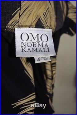 1980s Norma Kamali OMO wheat print Dress black slip long maxi mermaid M