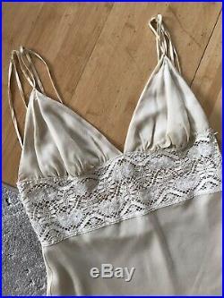 1980s Vintage Silk Slip Dress Size M Lace RRP £149