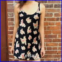 1990s 1980s Betsey Johnson Slip Dress Mini satin floral rose print Black P