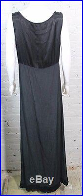 1990s GHOST Made in England Dress Black Slip Shiny Empire Waist Oversized Loose
