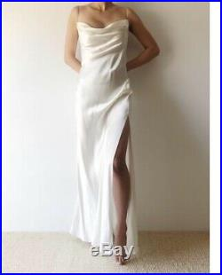 1990s Ivory Silk Charmeuse Vintage Bias Cut Slip Dress Size M