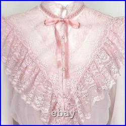 2 Piece Vintage Sz 2/4 Lace Bib Sheer Cropped Jacket & Knit Long Slip Dress