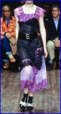 2001 Comme Des Garcons Dress Layered Slip Lace Pink Black Sheer Mesh S Vtg