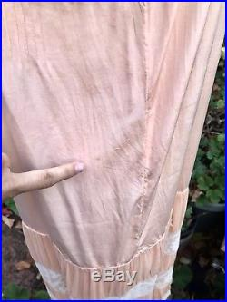 20s Vtg Peach Chiffon Silk Flapper Tea Dress Slip Antique French Lace Gatsby
