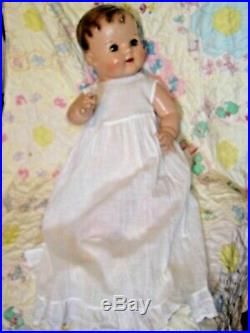 24 Vintage Composition Baby Mama Doll Antique Dress, Slip, Hat, Shoes Green Eyes