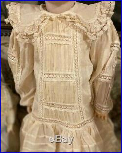 #280 Cotton Dress withLace & Silk Slip For Antique French or German Bisque Doll