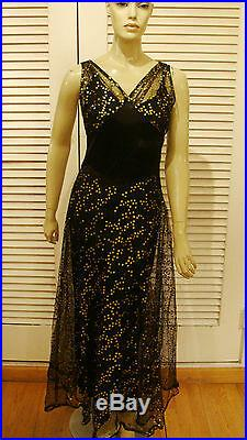 30s VINTAGE CHIC SEXY BLACK TULLE w PAINTED GOLD DOTS GOWN DRESS AND SLIP S-M