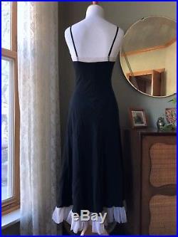 40s THEA TEWI Slip Dress Black Silk Lingerie Pink Bows Appliqué Net Vintage