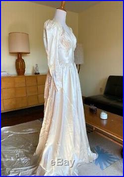 40s Vintage Wedding Gown Liquid Satin Dress Long Train Beaded Top Early 1940s