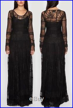 425 Johnny Was Biya Black Vintage Lace Maxi Dress With Silk Slip 2