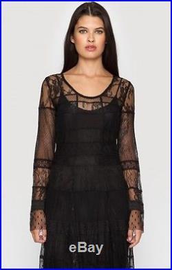 425 Johnny Was Biya Vintage Lace Mesh Maxi Dress With Silk Slip 2