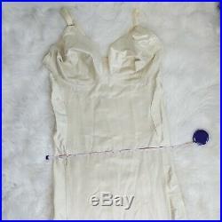 46DD Vintage Tight Nude Satin Girdle Bra Full Slip Briefer Shaper Dress E359