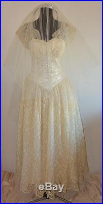 4pc vtg 60s Ivory Satin Floral Lace Tea Length WEDDING DRESS Gloves Veil Slip SM