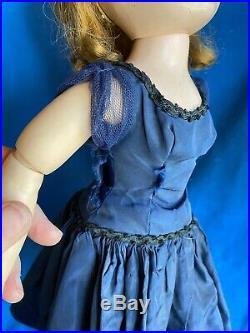 50s Vintage Tagged Cissy 20 Doll Navy Blue Dress & Shrug Slip MA Dropped Waist