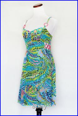 60's NANETTE LEPORE Retro Blue Green Pink Vintage Psychedelic Cage Mod Dress 6