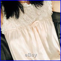 60s DIOR Babydoll Slip Dress Vintage Lingerie Pink Lace Boho Hippie Small