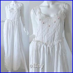 60s Eve Stillman White Silk Floral Embroidered Wedding Peignoir Slip Dress Set