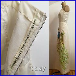 70s Hand Painted PEACOCK Long Slip Dress Bird Leaf Branch Vintage Maxi 0 2