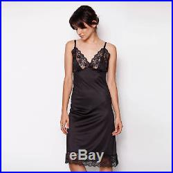 70s Vintage Lingerie Black Lace Detail Slip Dress by Kayser FITS SMALL
