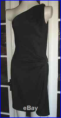 80s YVES SAINT LAURENT RIVE GAUCHE DRAPED GRECIAN ONE SHOULDER SLIP DRESS YSL