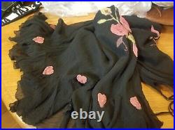 90's BETSY JOHNSON Silk Embroidered Slip Dress Floral Vintage Classic! Size 4/XS