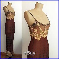 90s JACODA KURSA Hand Painted Silk Slip Dress Barneys New York Long Lace Dress