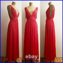 90s Red Rose Velvet Burnout Bias Dress & 60s Lace Nylon Empire Waist Slip Gown