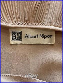 ALBERT NIPPON Vintage Dusty Rose Silk Satin Pleated Dress With Slip Sz 6
