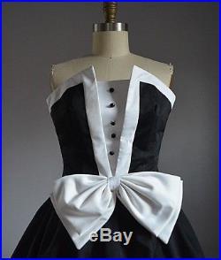 AMAZING VTG 60's BLACK & WHITE STRAPLESS TUXEDO DRESS with TULLE SLIP Mint