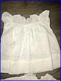 ANTIQUE LOT 9 Child's DRESS shoes 1940's White Lawn Cotton baptismal DRESS +slip