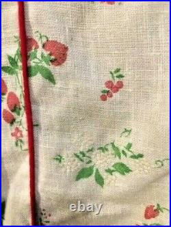 ANTIQUE VICTORIAN mid 1800s STRAWBERRY PRINTED DRESS with ANTIQUE WHITE SLIP