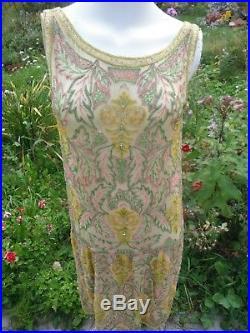 AUTHENTIC 2 piece BELGIUM antique 1920's all beaded flapper silk dress with slip