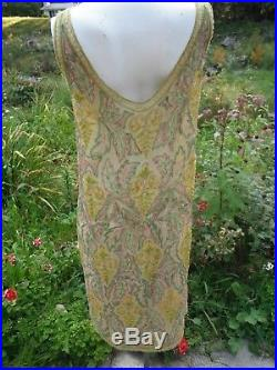 AUTHENTIC 2 piece BELGIUM antique 1920's all beaded flapper silk dress with slip