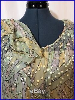 Adele Simpson Vtg Silk Velvet Pastel Gold Geo Mod Maxi Longsleeve Slip Dress L