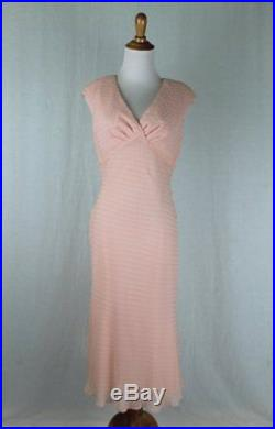 Adrianna Papell Pink Swiss Dot Silk 1930's Inspired Bias Cut Slip Dress NWT 6