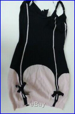 Agent Provocateur mini dress S cashmere knit corset print suspender slip vintage