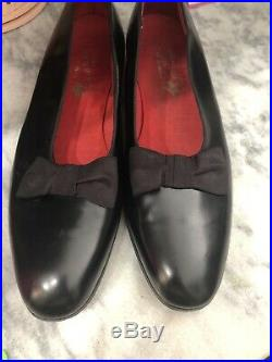 Alan McAfee London black Leather slip on formal with Bow Detail shoes 11.5 #D2104