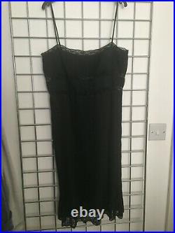 Alberta Ferretti Vintage 90s Black Pleated Lace Midi Dress 1997 ss Runway Slip