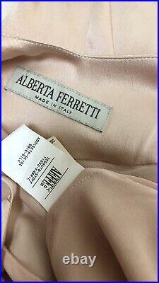 Alberta Ferretti Vintage Y2k Blush Pink Slip Gown Dress S Satin Spaghetti Strap