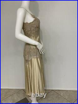 Alexander McQueen Predeath 2005 Pale Yellow Silk Slip Dress With Lace Trim 42