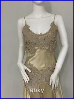 Alexander McQueen Predeath O5 Vintage Yellow Silk Slip Dress W Lace Trim 42