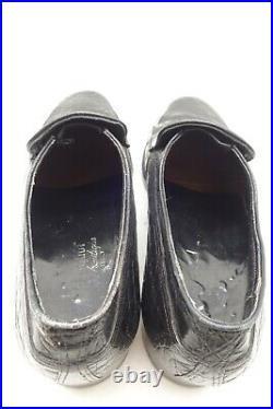 Ambassador Black Vintage Exotic Crocodile Slip On Dress Loafers Shoes Men's 8 D