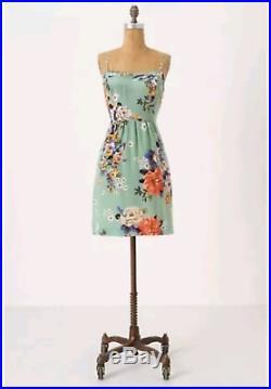 Anthropologie 100% Silk Vintage Floral Print Verdant Slip Dress Odille Green S 4