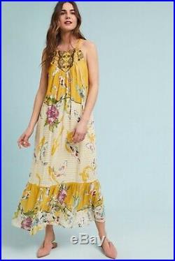 Anthropologie One September Paradiso Maxi Slip Dress Yellow Koi Floral Halter XS